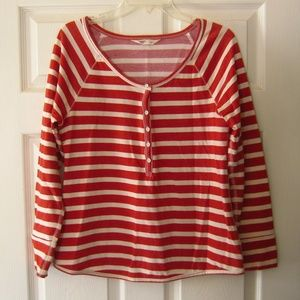 LN Old Navy long sleeve striped henley tee